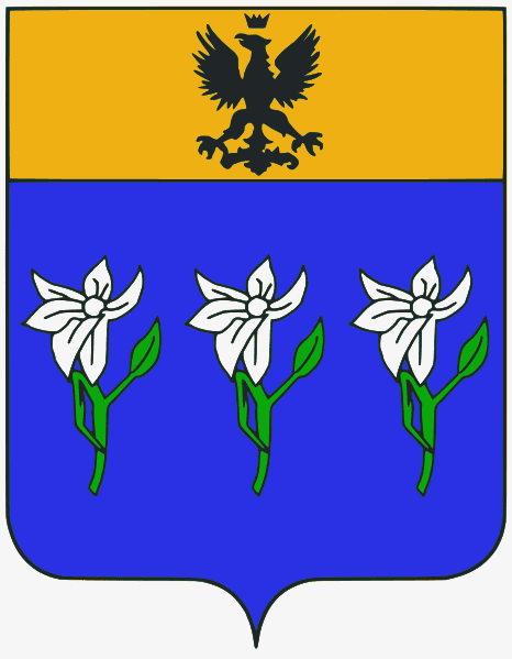 Coat of arms of an Italian family with Ghibelline-style heraldic chief at top