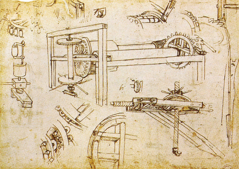 Drawing by Leonardo da Vinci: winch invented by Brunelleschi.