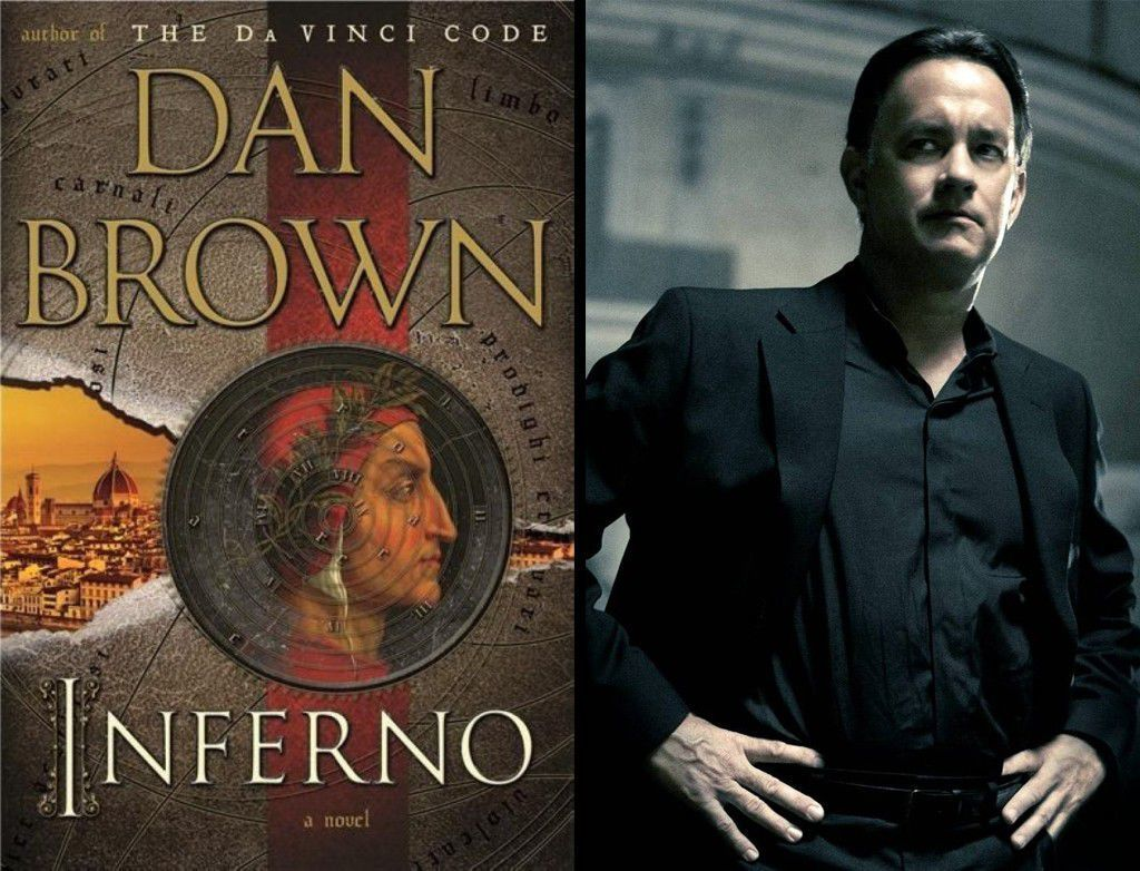 The cover of Inferno and the actor Tom Hanks