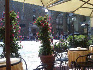 Tables at the Caffè Rivoire in Piazza della Signoria