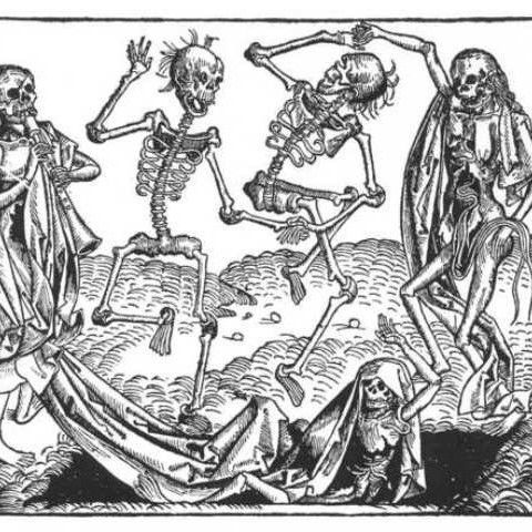 The Dance of the Black Death in a medieval allegory