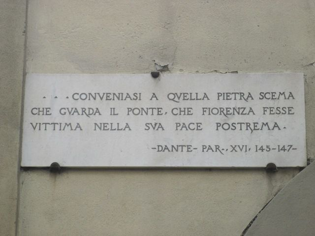 The inscription with the verses of the Divine Comedy at the Old Bridge