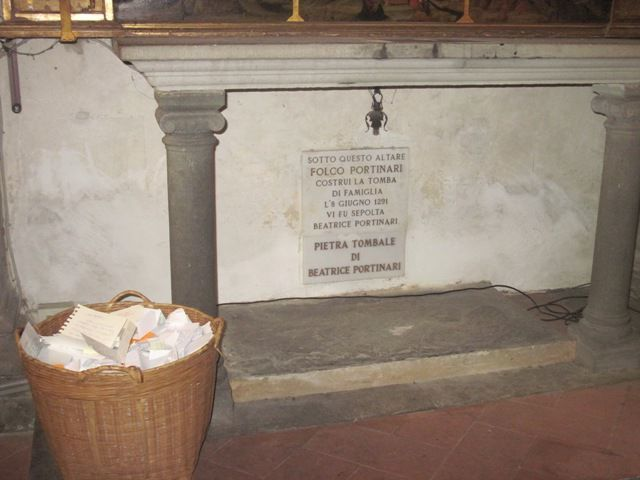 The headstone of Beatrice in the church of Santa Margherita dei Cerchi