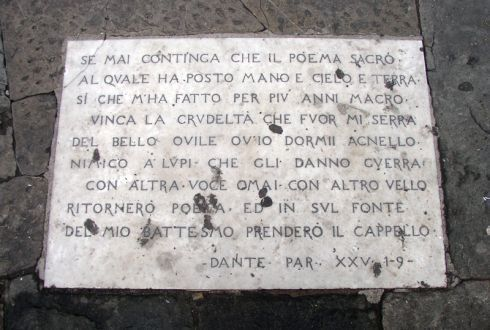 Inscription with verses of the Divine Comedy in Florence