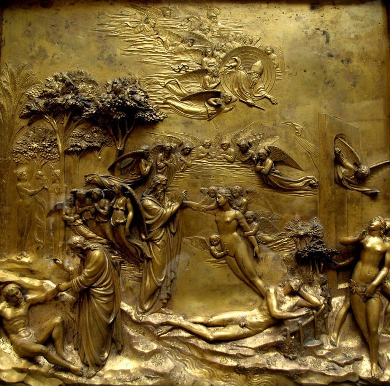 Story of Adam and Eva on the Gates of Paradise