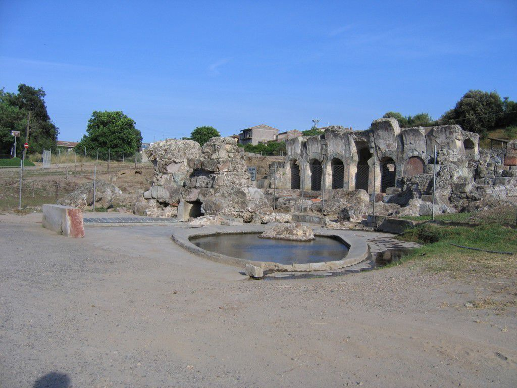 Ruins of ancient Roman baths in Sardinia