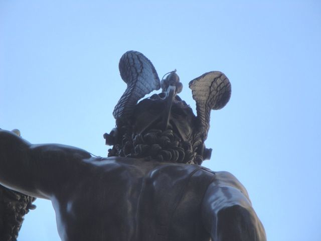 Cellini's self-portrait on the back of the Perseus