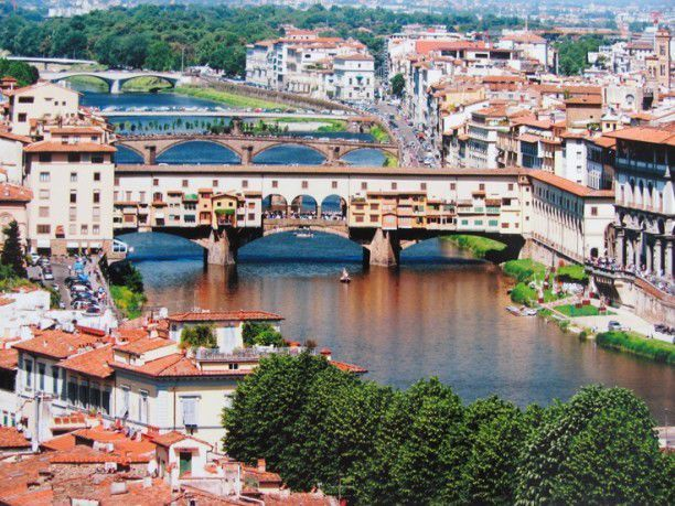 A view of Ponte Vecchio with the Società Canottieri