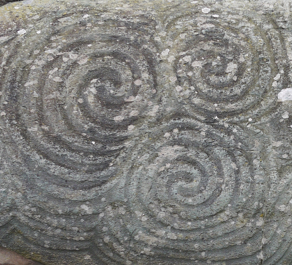 Triskele detail, the stone at Newgrange by Annie Gormlie