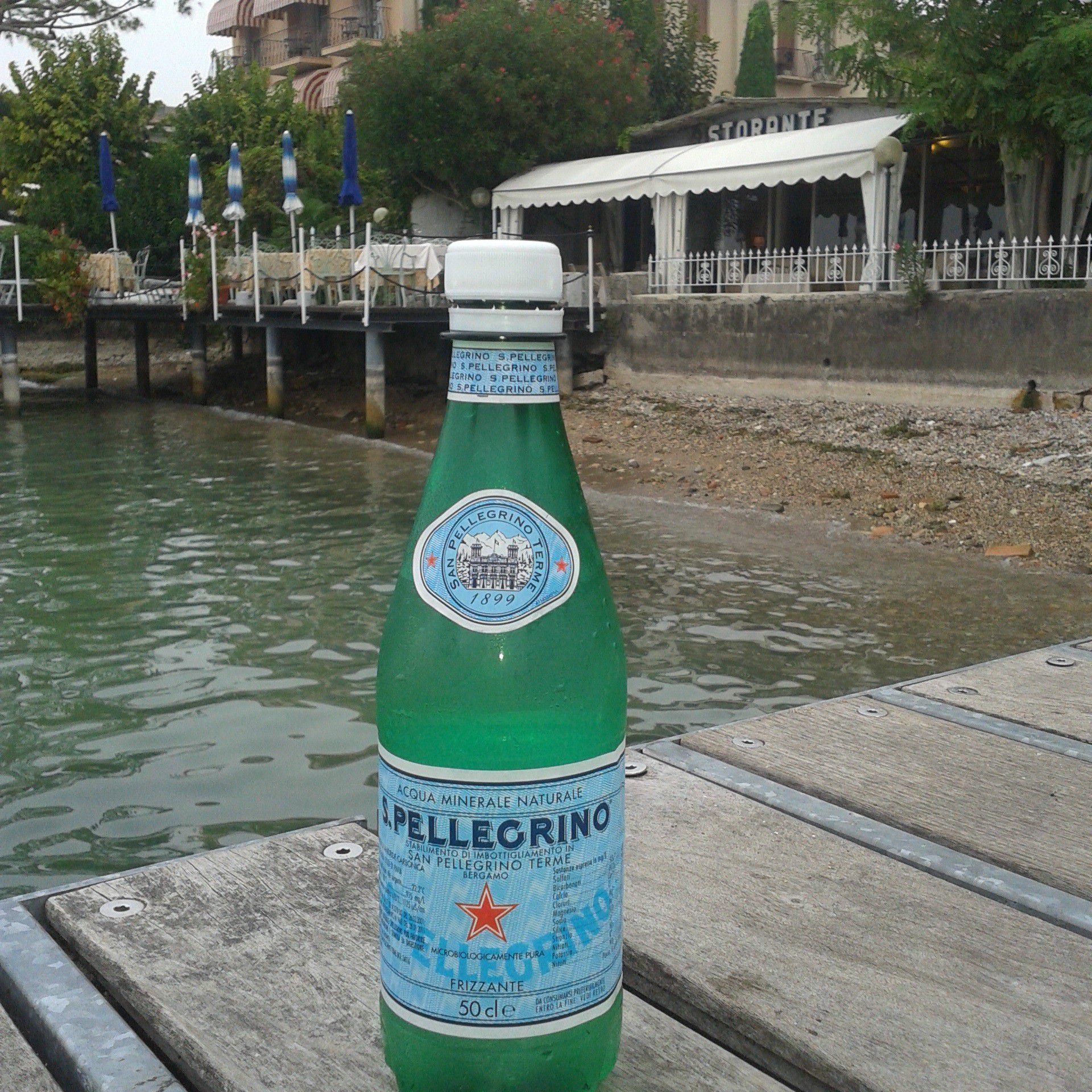 A bottle of San Pellegrino water