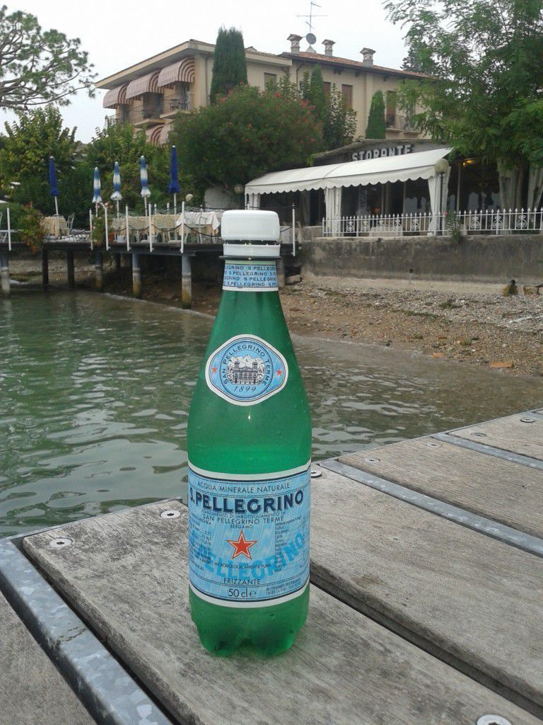 A bottle of San Pellegrino water