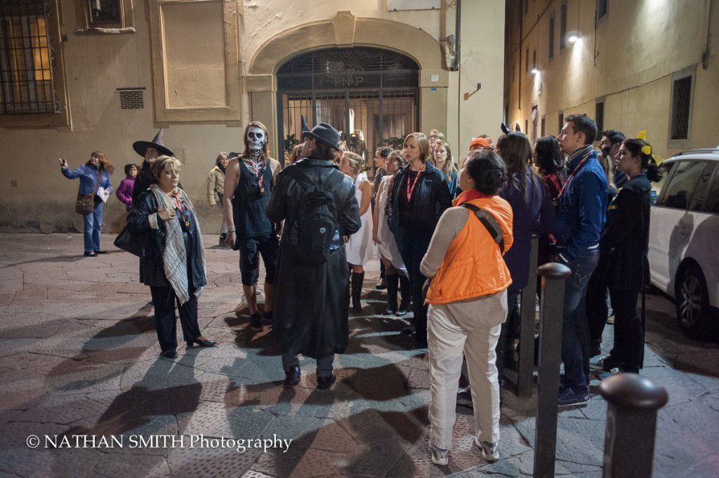 One group with the guide in the streets of Florence