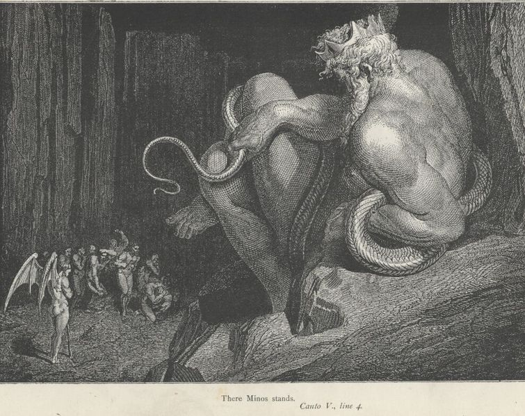 Minos in an illustration of the Divine Comedy by Gustave Dorè