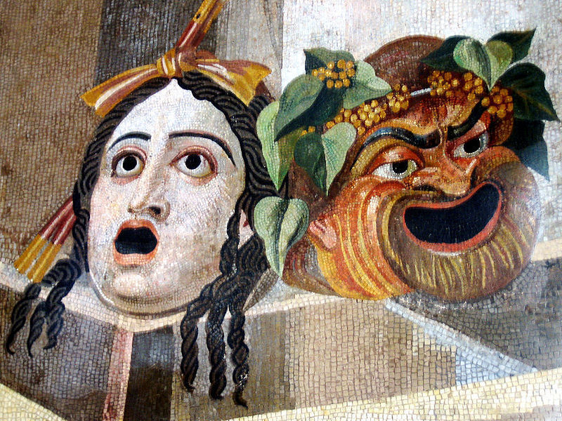 Tragedy and Comedy masks in a Roman decoration