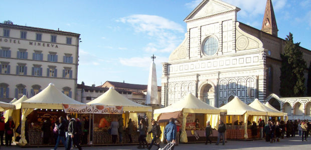 Chocolate Fair in Piazza Santa Maria Novella, Florence, Italy