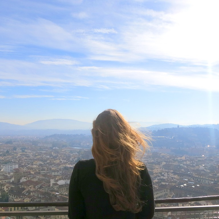 Tiana kai Madera looking over Florence from the Duomo