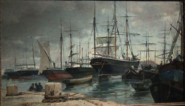 Porto di Livorno, a paint by Guglielmo Micheli