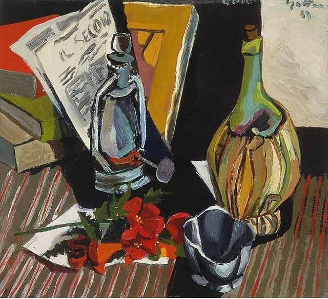 Guttuso, Still life with newspaper (oil on canvas)