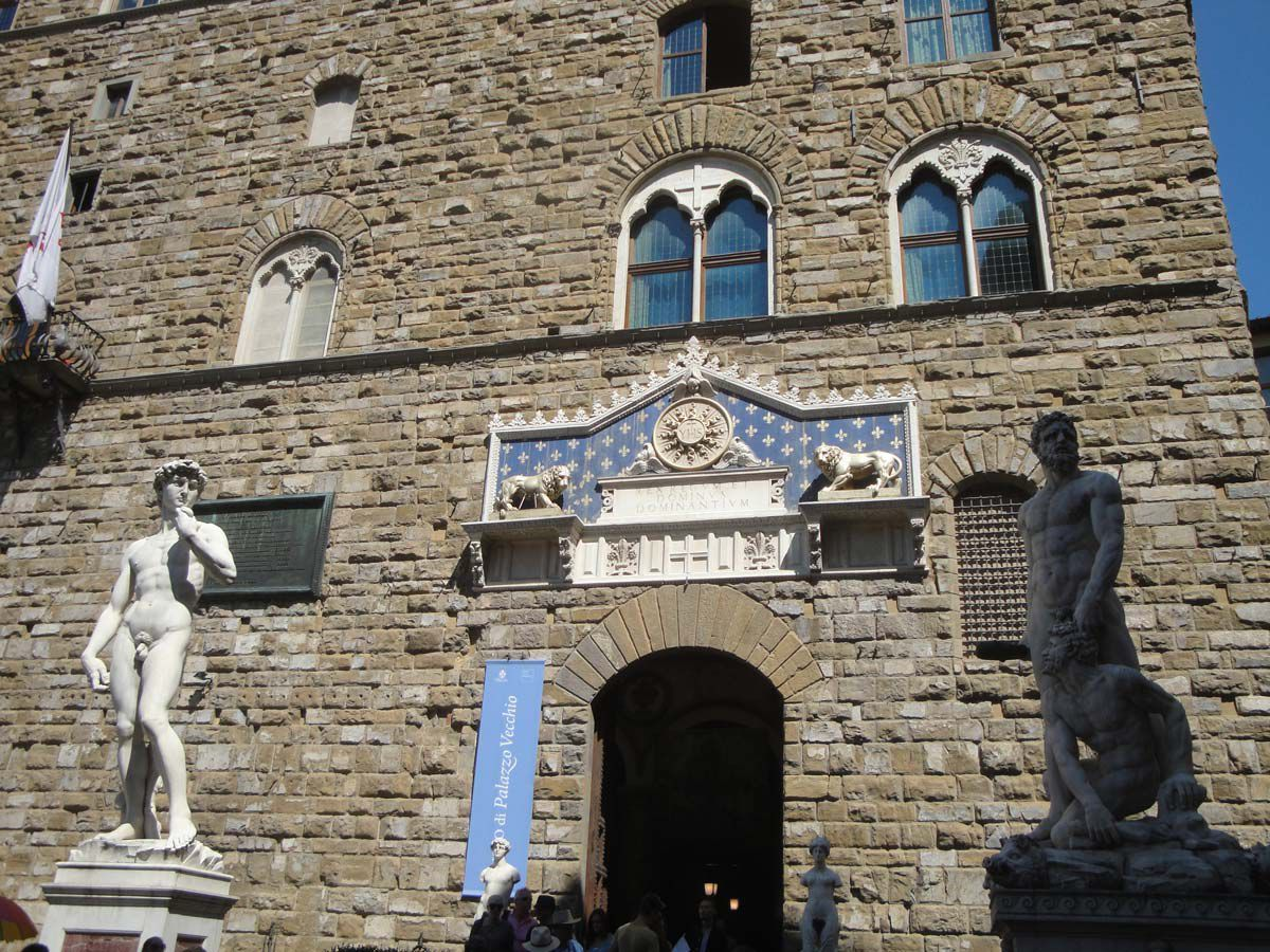 The copy of David in front of Palazzo Vecchio